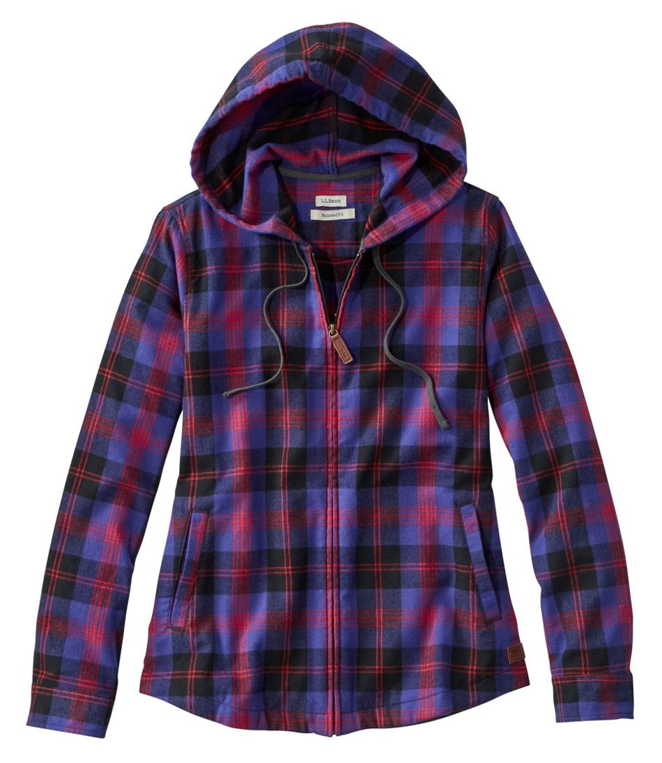 Women's Scotch Plaid Flannel Shirt, Relaxed Zip Hoodie