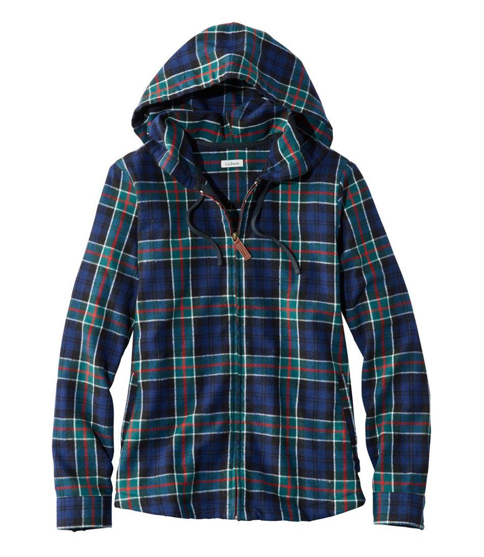 6f39b158f7 Women's Scotch Plaid Flannel Shirt, Relaxed Zip Hoodie