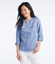 Premium Washable Linen Roll-Tab Shirt, Long-Sleeve