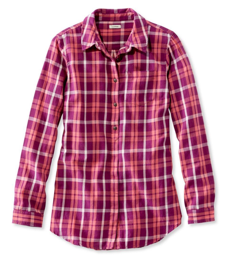 Washed Twill Tunic, Long-Sleeve Plaid