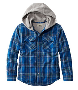 Kids' Fleece-Lined Hooded Flannel Shirt, Plaid