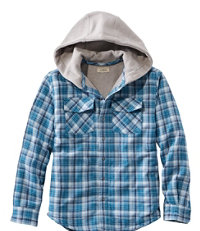 Boys' Fleece-Lined Hooded Flannel Shirt, Plaid