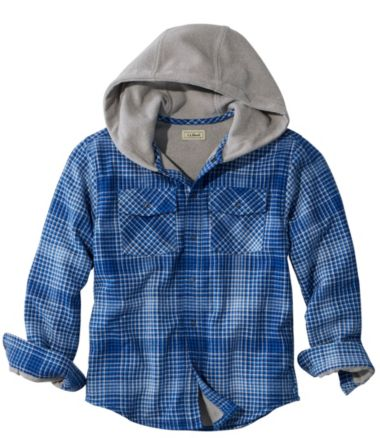 Boys' Fleece-Lined Flannel Shirt, Hooded Plaid