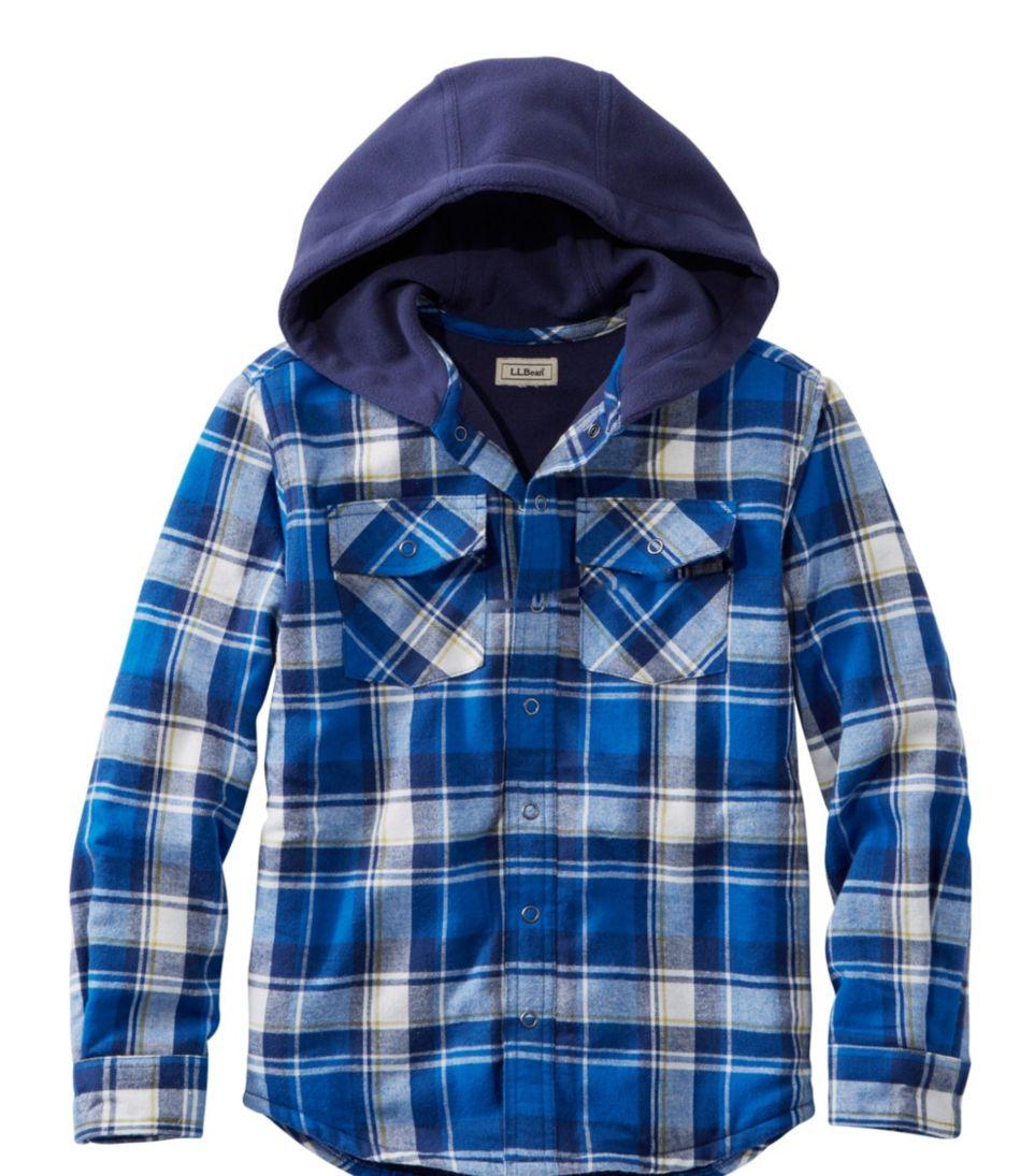 Boys' Fleece-Lined Flannel Shirt, Hooded Plaid