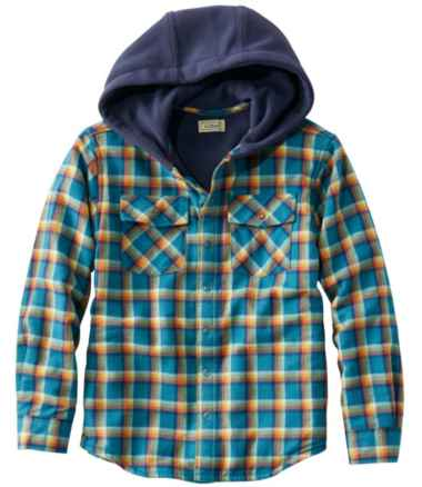 Kids' Fleece-Lined Flannel Shirt, Hooded Plaid