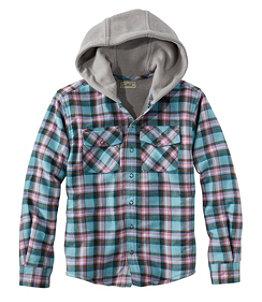 Kids' Fleece-Lined Hooded Flannel Shirt, Plaid
