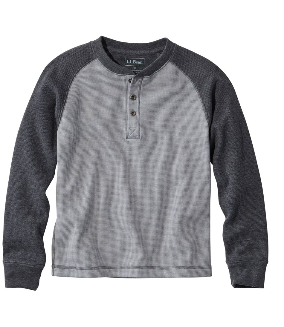 Boys Mini Waffle Henley Long Sleeve Colorblock