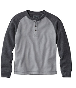 Boys' Mini-Waffle Henley, Long-Sleeve Colorblock
