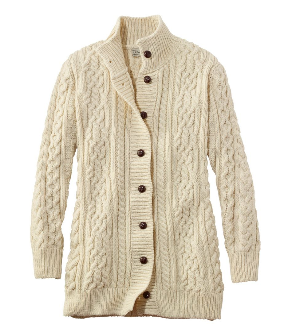 Vintage Sweaters: Cable Knit, Fair Isle Cardigans & Sweaters 1912 Heritage Irish Fisherman Sweater Long Cardigan $199.00 AT vintagedancer.com