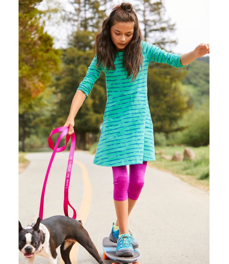 Girls' Unshrinkable Dress, Long-Sleeve Print