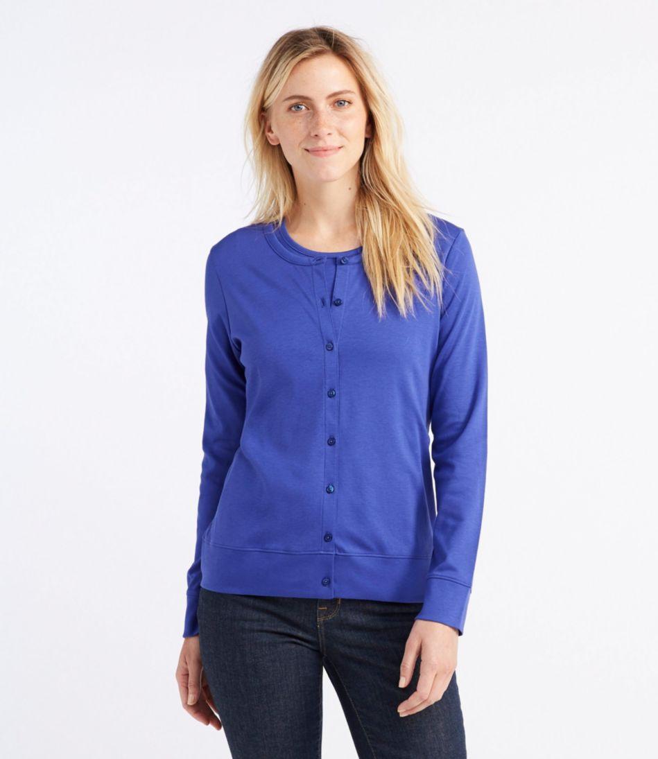 Pima Cotton Cardigan, Long-Sleeve
