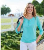 Women's L.L.Bean Tee, Three-Quarter-Sleeve Lace-Up