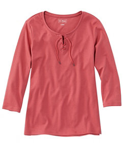 L.L.Bean Tee, Three-Quarter-Sleeve Lace-Up