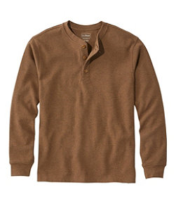 Men's Unshrinkable Mini-Waffle Henley, Long-Sleeve Traditional Fit