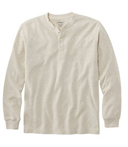 Unshrinkable Mini-Waffle Henley, Long-Sleeve Traditional Fit