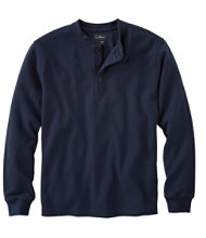 Unshrinkable Mini-Waffle Henley, Long-Sleeve Slim Fit