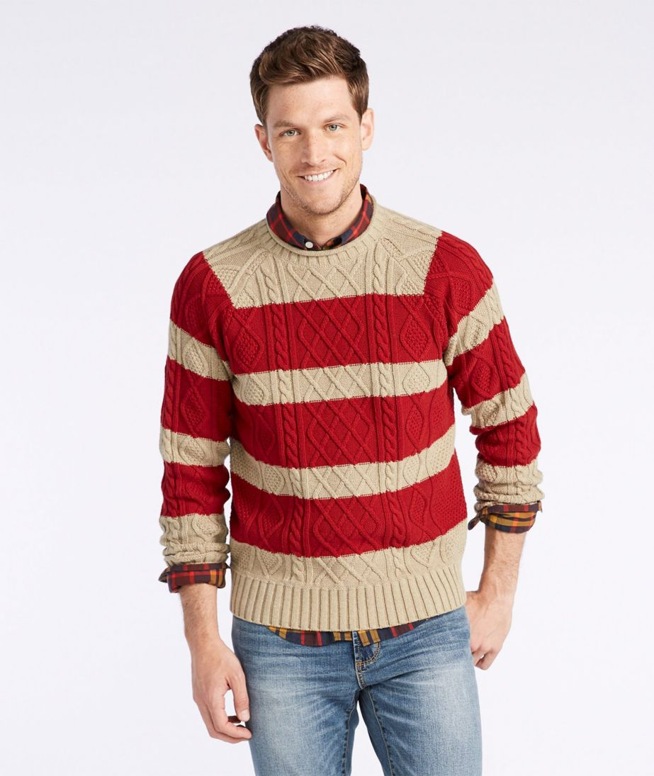 Signature Fisherman Sweater, Rollneck Stripe