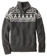 Signature Slopeside Sweater, Quarter-Zip Fair Isle