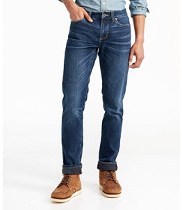 Men's Signature Five-Pocket Jeans with Stretch, Slim Straight Lined
