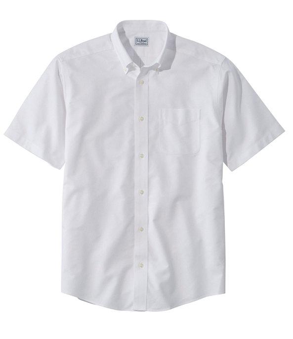 Men's Wrinkle-Free Classic Oxford Shirt, Short-Sleeve, White, large image number 0