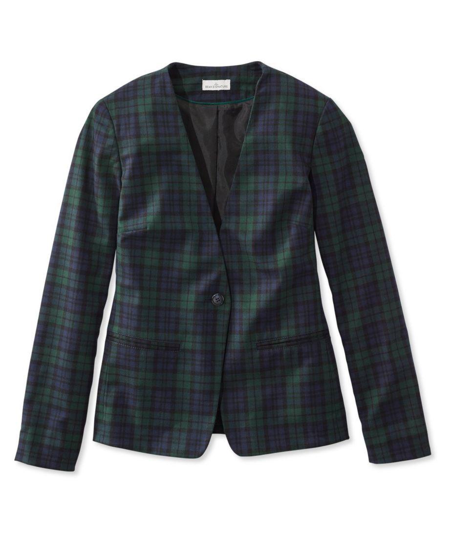 Signature Collarless Wool Blazer, Plaid