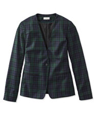 Signature Collarless Wool Blazer, Plaid