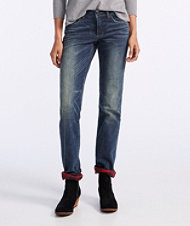 Signature Straight-Leg Jeans, Flannel-Lined