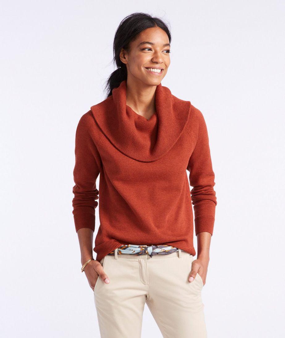 Signature Fine-Gauge Cotton/Cashmere Funnelneck Sweater
