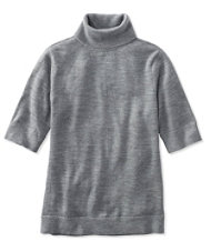 Signature Washable Merino Elbow-Sleeve Turtleneck