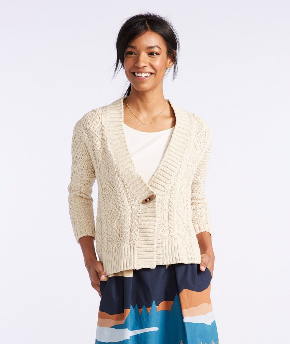 Signature Cotton Fisherman Cropped Cardigan