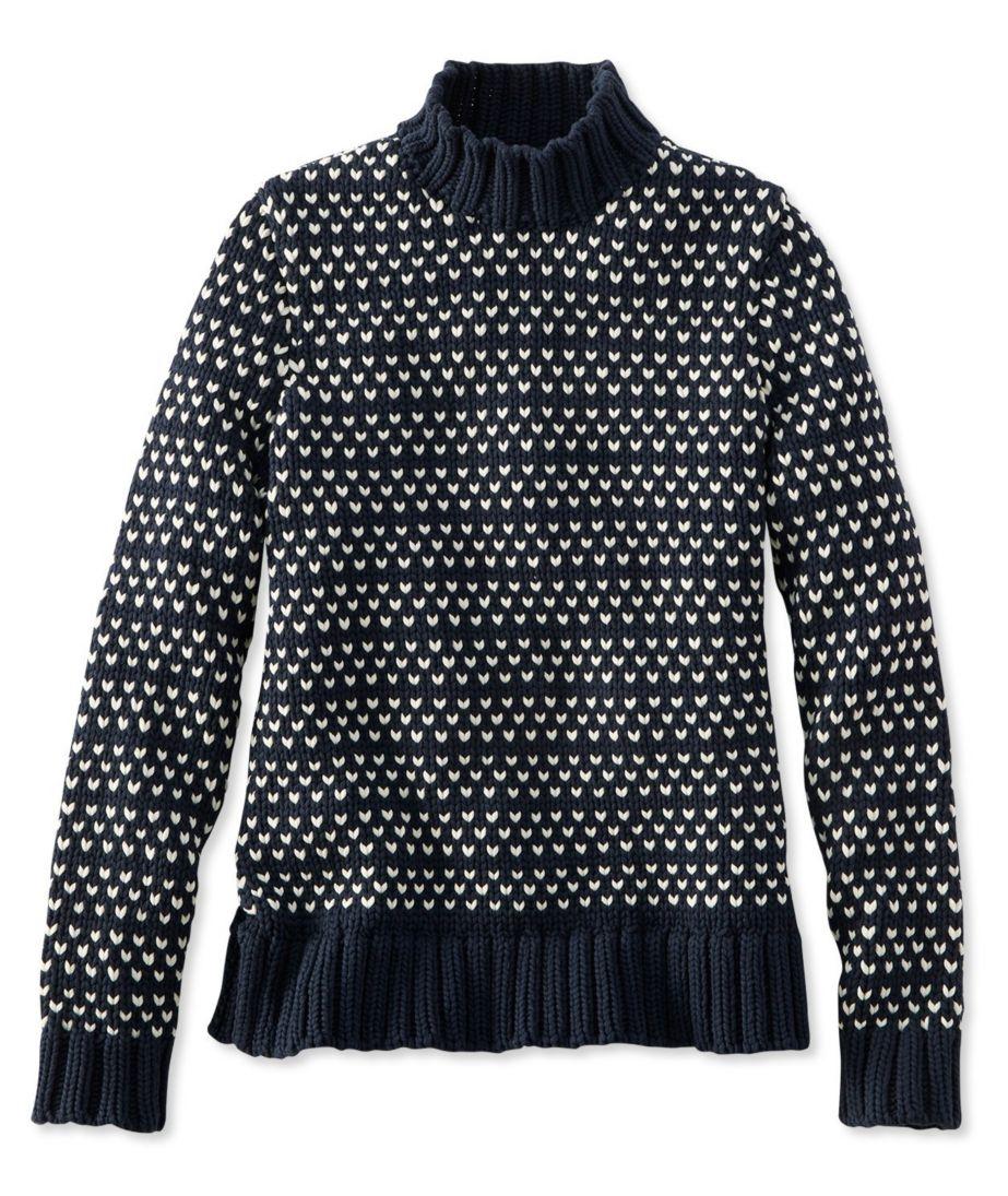 Signature Chunky Knit Mockneck Sweater, Bird's-Eye
