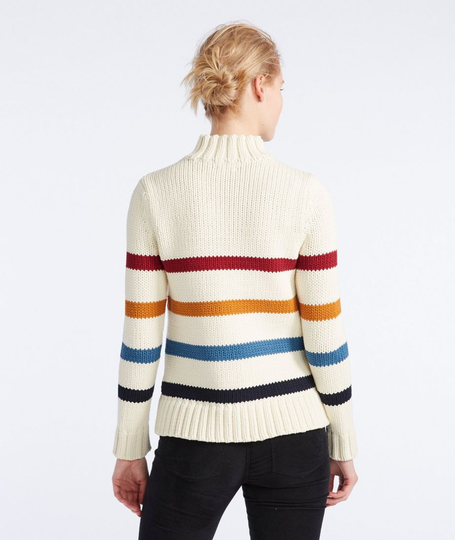 Signature Chunky Knit Mockneck Sweater, Stripe
