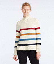 Signature Chunky Knit Mockneck Sweater, Stripe