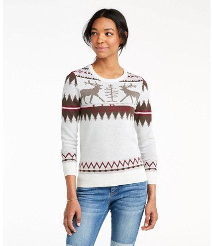 Women's Signature Merino Textured Crewneck Sweater, Fair Isle ...