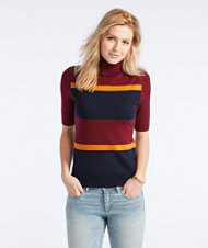Signature Washable Merino Elbow-Sleeve Turtleneck, Stripe