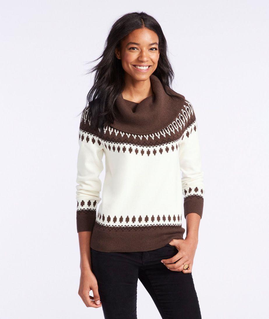 Signature Fine-Gauge Cotton/Cashmere Funnelneck Sweater, Fair Isle