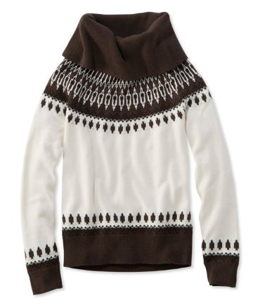 Signature Fine-Gauge Cotton/Cashmere Funnelneck Sweater, Fair Isle