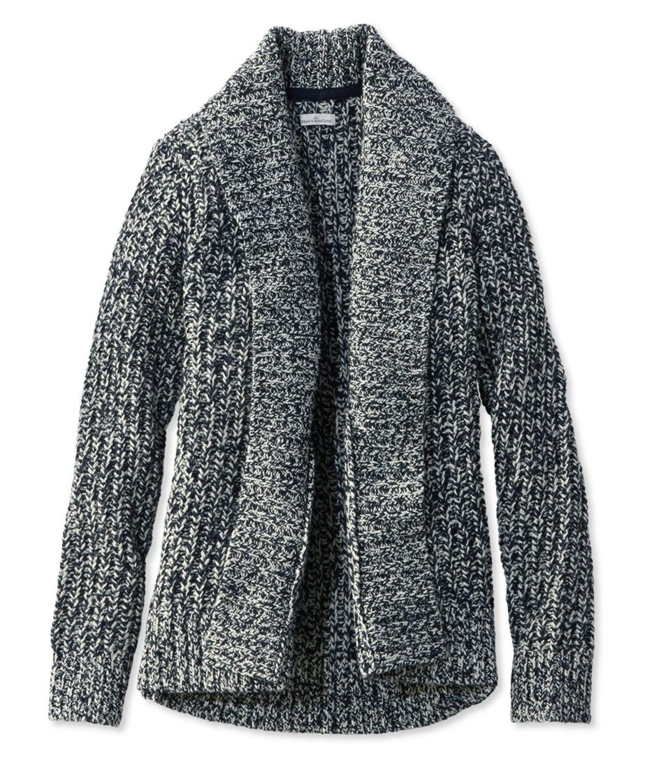 Signature Shaker-Stitch Wool Cardigan, Marled