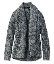 Signature Shaker-Stitch Wool Cardigan, Marled