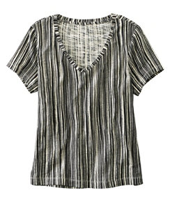 Signature Essential Knit V-Neck Tee, Short-Sleeve Print