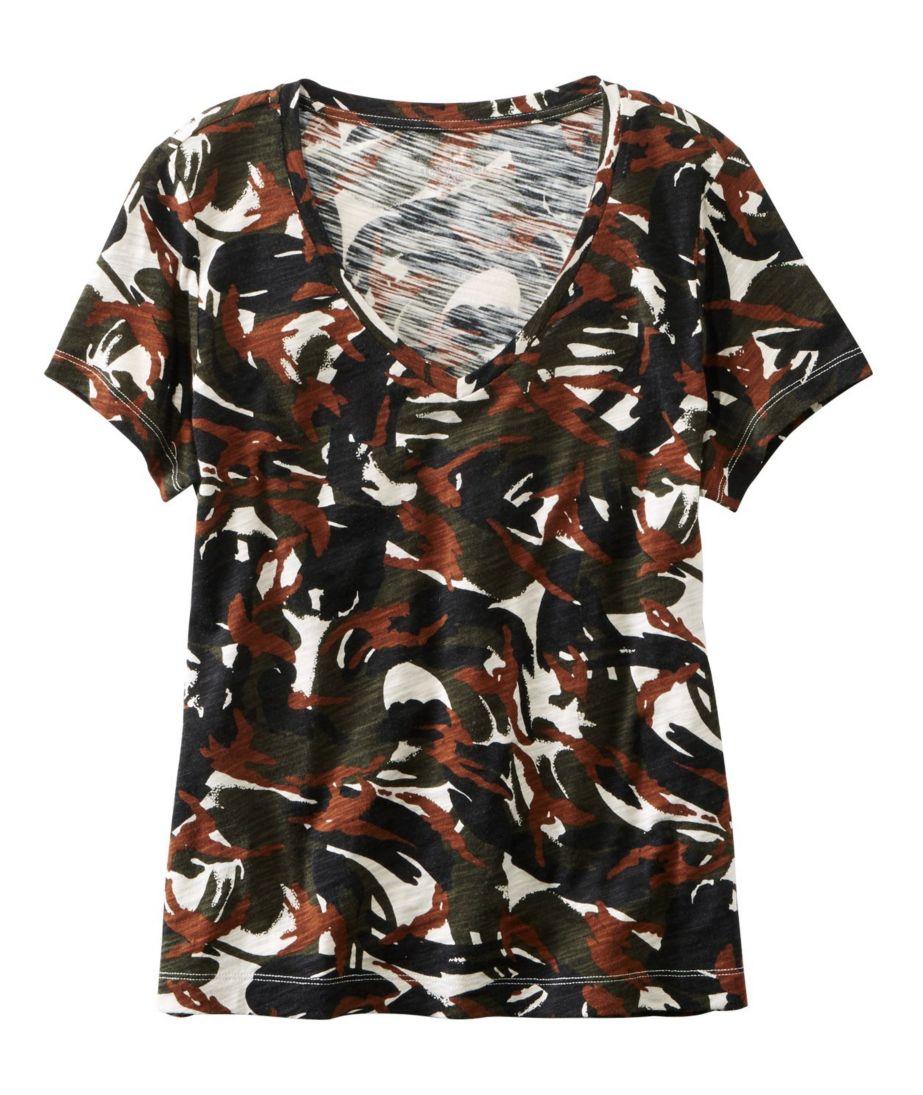Signature Essential Knit V-Neck Tee, Short-Sleeve Print