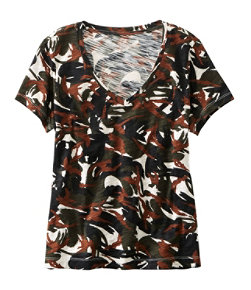 Women's Signature Essential Knit V-Neck Tee, Short-Sleeve Print