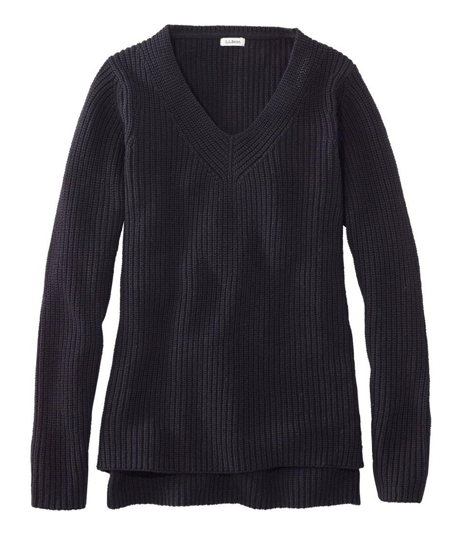 L.L.Bean Shaker-Stitch Sweater, V-Neck Pullover