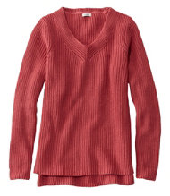 L.L.Bean Shaker-Stitch Sweater, V-Neck Pullover