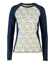 Cresta Wool Midweight Base Layer Crew, Print