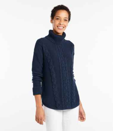 Women's Double L® Mixed-Cable Sweater, Turtleneck