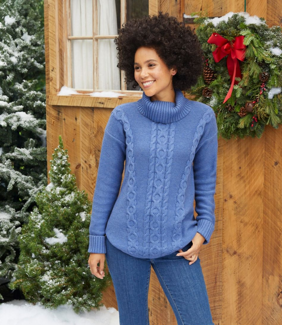 Double L® Mixed-Cable Sweater, Turtleneck