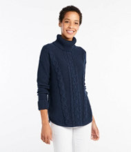Double L Mixed-Cable Sweater, Turtleneck