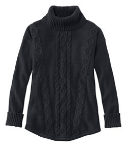 Women's Double L Mixed-Cable Sweater, Turtleneck