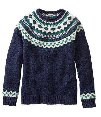L.L.Bean Classic Ragg Wool Sweater, Fair Isle Crewneck   Free ...
